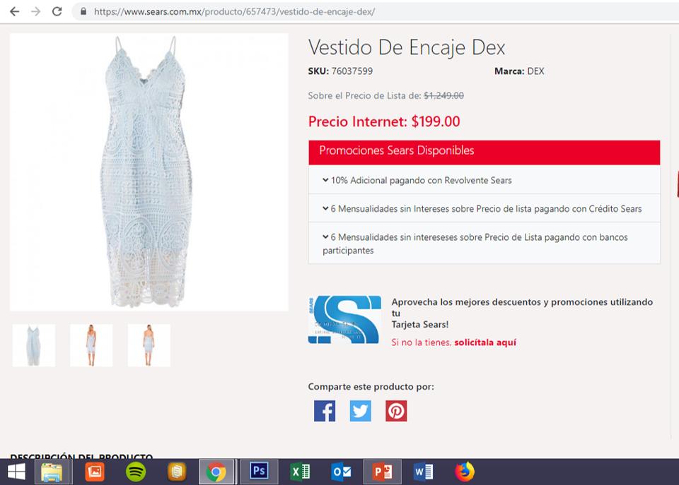 62362228d Sears  Vestidos con 77% + 10% descuento tarjeta sears ...