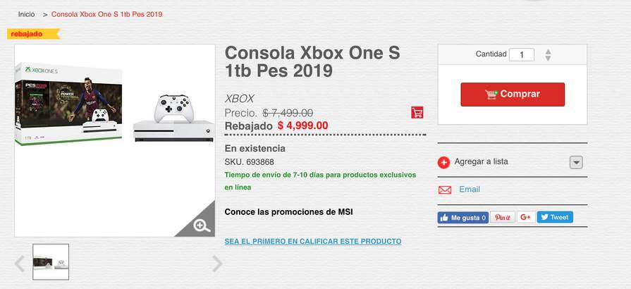 Heb Consola Xbox One S 1tb Pes 2019 A 4 999 Promodescuentos Com