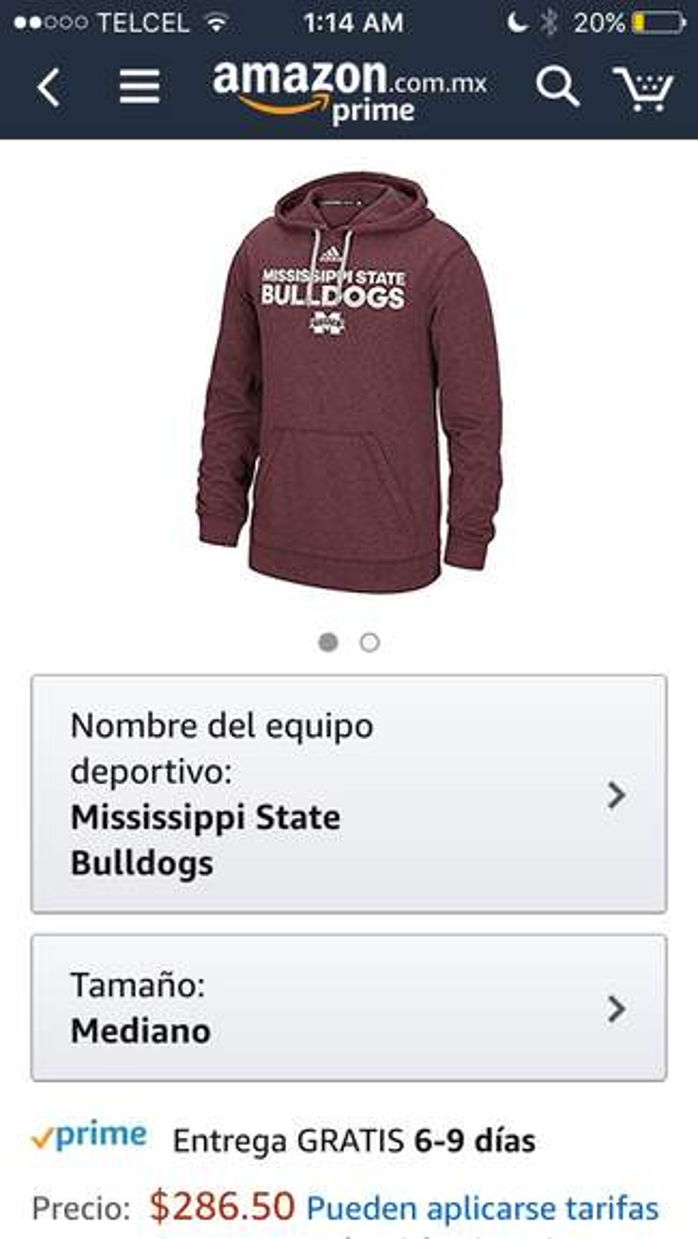 gran venta 4d8a2 e2990 Amazon: Sudadera Adidas mediana Mississippi Bulldogs talla M ...