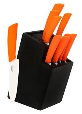 Amazon 9 cuchillos de cer mica con base de madera en 780 for Cuchillos de ceramica amazon