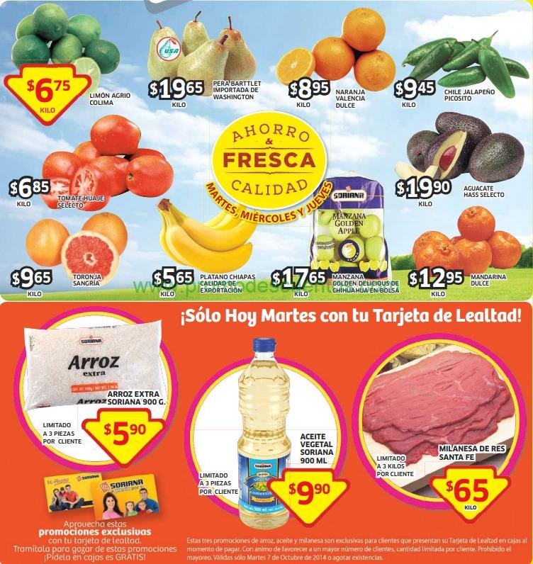 Ofertas de frutas y verduras en Soriana del 7 al 9 de octubre. Arroz $6, Aceite $10 y más