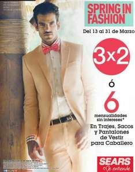 Sears: 3x2 en trajes, sacos y pantalones de vestir