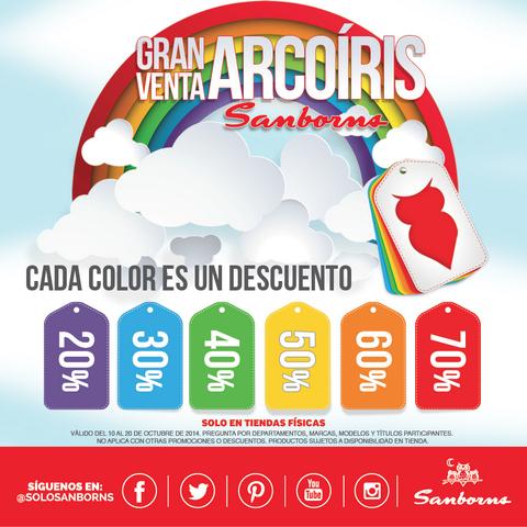 Gran venta arcoíris Sanborns: descuentos del 20 hasta 70%