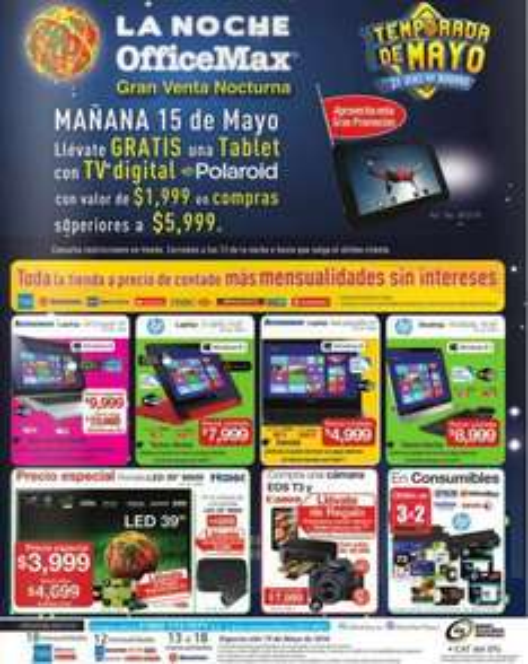 """Venta Nocturna OfficeMax mayo 15: pantalla LED 39"""" $3,999, tablet gratis con compra mínima y +"""