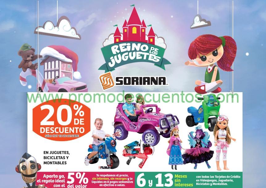 Soriana: 20% de descuento en juguetes, bicis, montables, vinos y licores y más