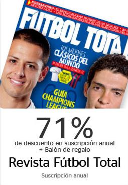Suscripción anual a revista Futbol Total $120 con Bancomer