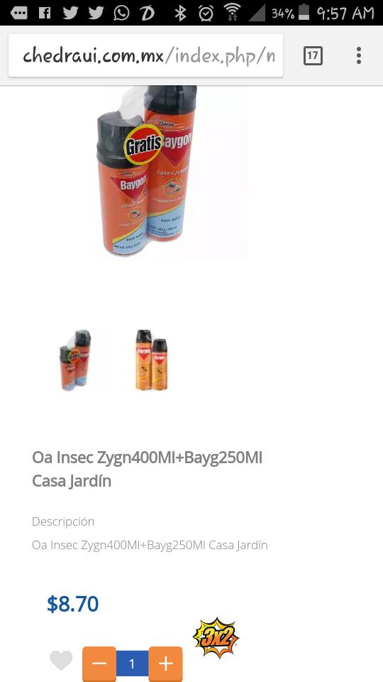 Chedraui: Baygon casa y jardin 400ml a $8.70