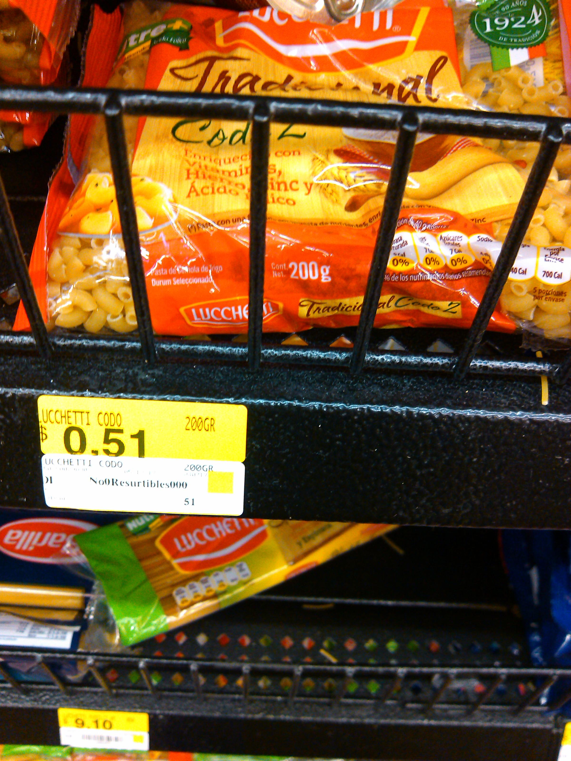 Walmart: sopa de coditos luchetti a $0.51