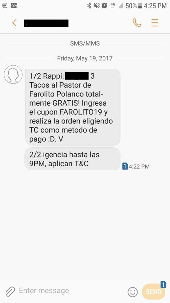 Rappi: 3 Tacos al pastor de Farolito Polanco pagando con TC - gratis! También hay granizado de Juan valdez