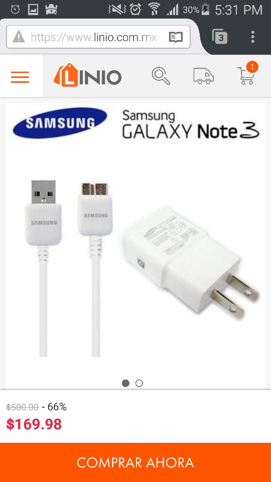 Linio: Cargador Y Cable Usb 3.0 Samsung Galaxy 10.6w Original