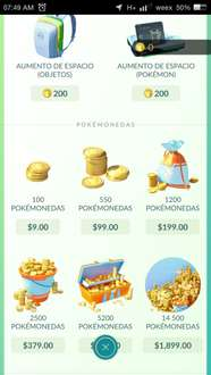 Tienda Pokémon GO: 100 monedas por $9