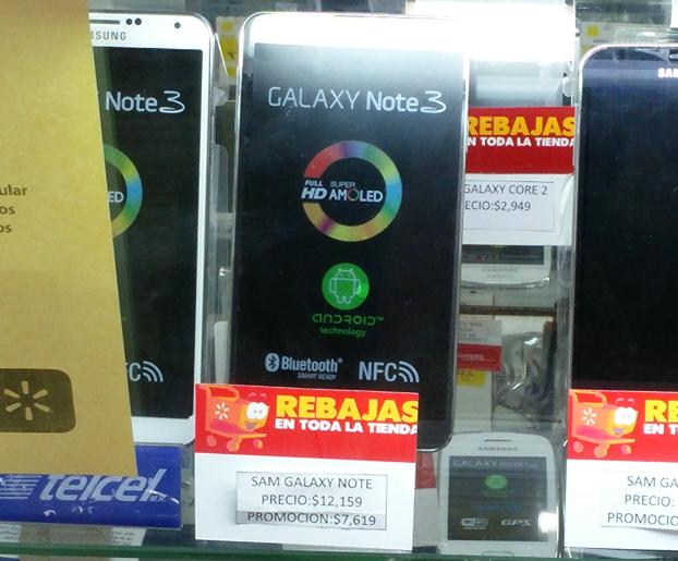 Walmart y Famsa :Samsung Galaxy Note 3 de Telcel  $7619