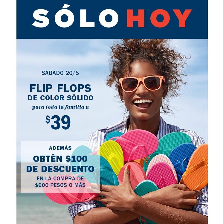 Old Navy: Chanclas, llévele bara bara, Flip flops a $39