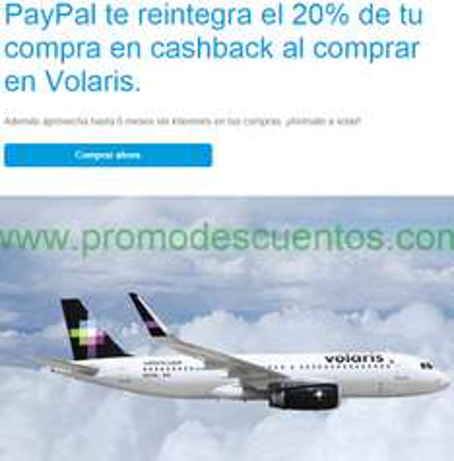 Volaris: 20% de reembolso en cashback pagando con PayPal