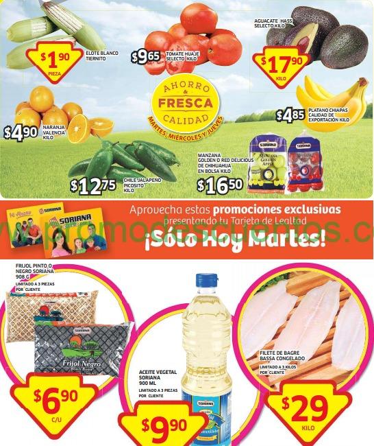 Ofertas de frutas y verduras en Soriana del 14 al 16 de octubre