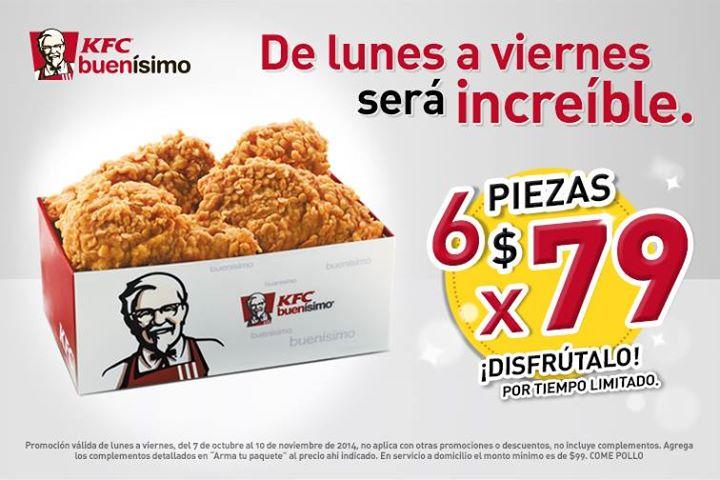 KFC: 6 piezas de pollo por $79 de lunes a viernes