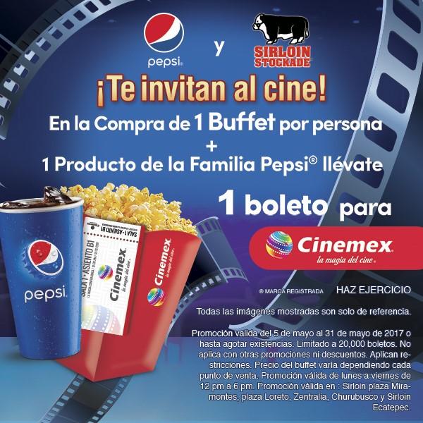 Sirloin Stockade: un buffete + un producto Pepsi = un boleto para Cinemex