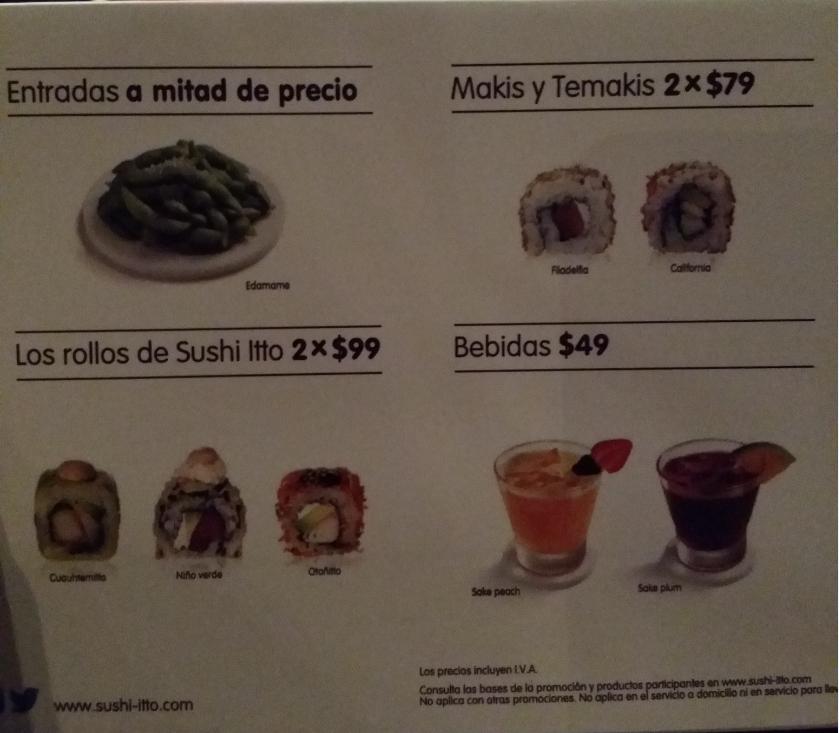 Sushi itto: rollos 2x79 o 2x99 y entradas a mitad de precio