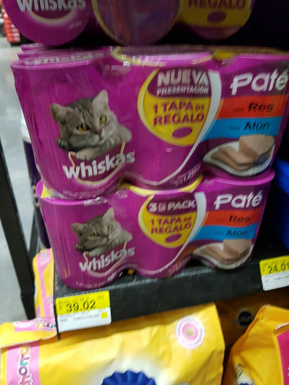 Walmart Suc. Sufragio Efectivo:  Paquete de 3 latas de Whiskas, Pate de Res y Atún a $39.02