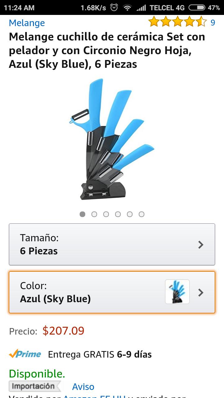 Amazon Mx: Melange cuchillo de cerámica Set con pelador