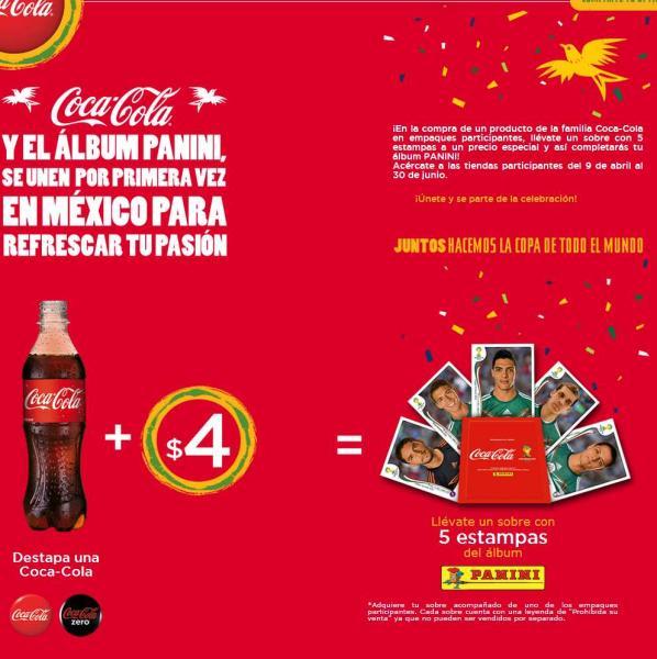 Sobre de cartitas Mundial a $4 comprando una Coca-Cola