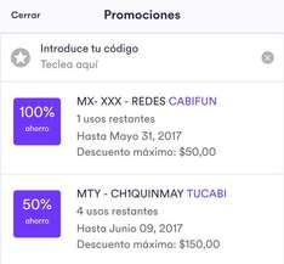 Cabify MTY: 50% de descuento en 4 viajes (usuarios viejos)