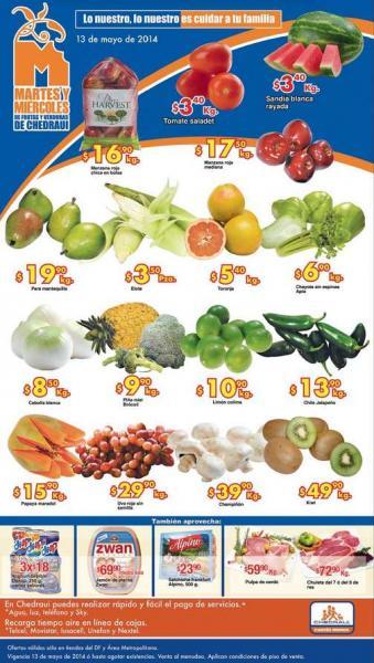 Ofertas de frutas y verduras en Chedraui mayo 13 y 14