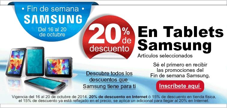 Fin de semana Samsung: 20% de descuento en tablets, blu-ray Smart $999 (+ bocina Bose el lunes)