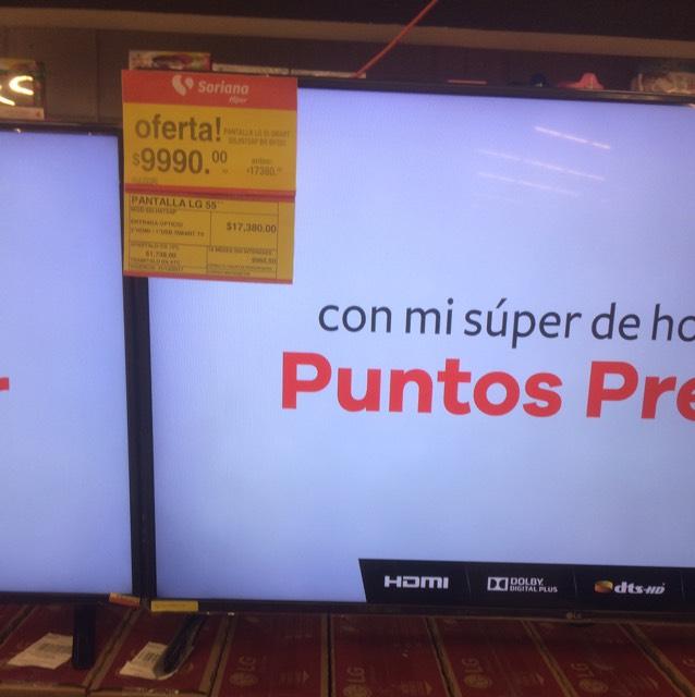 """Soriana: Pantalla LG smart 55"""" 4K de 17mil a $9,999"""