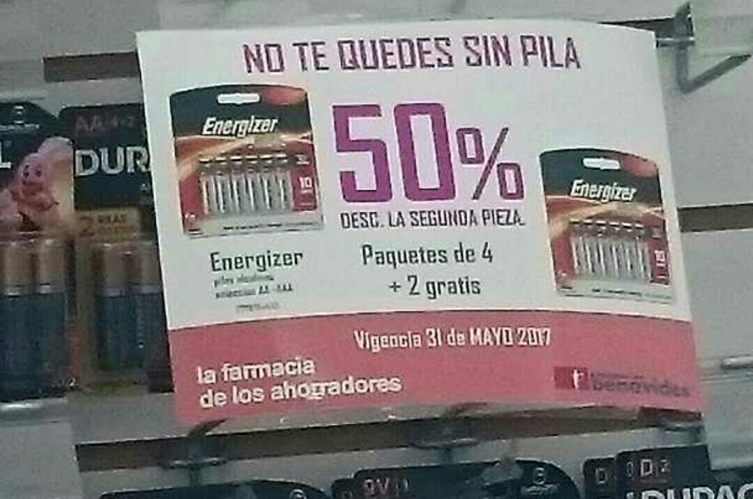 Farmacias del Ahorro Gdl: 50% de descuento en la segunda pieza de pilas Energizer