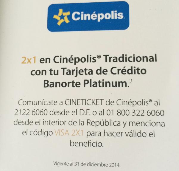 Cinépolis: 2x1 con tarjeta Visa