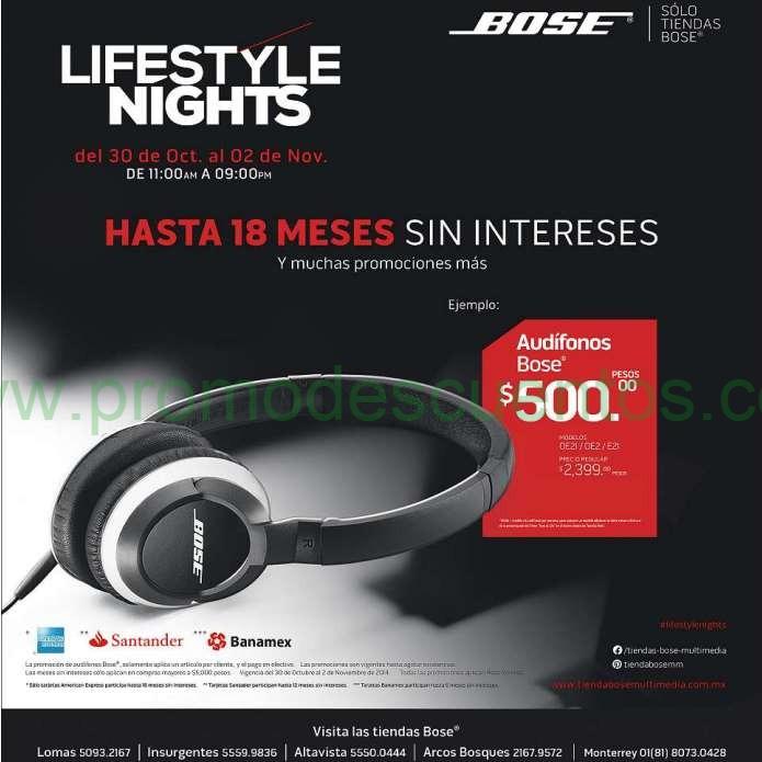 Venta Exclusiva Tiendas Bose octubre 30 a noviiembre 2: audífonos $500 y más