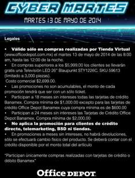 "Office Depot: Cyber Martes Banamex pantalla LED 26"" gratis con compra mínima"