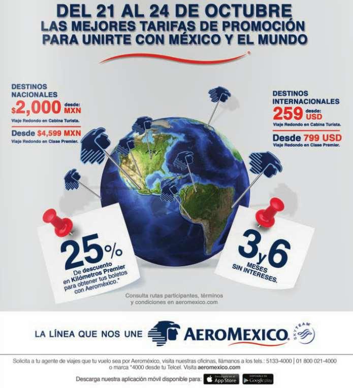 Venta especial Aeroméxico: vuelos redondos naciones desde $2,000 e internacionales desde US$249