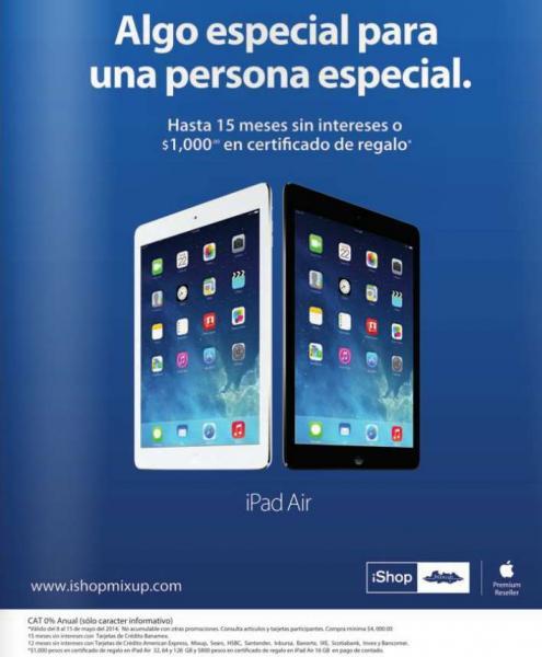 iShop Mixup: $1,000 de bonificación comprando iPad Air