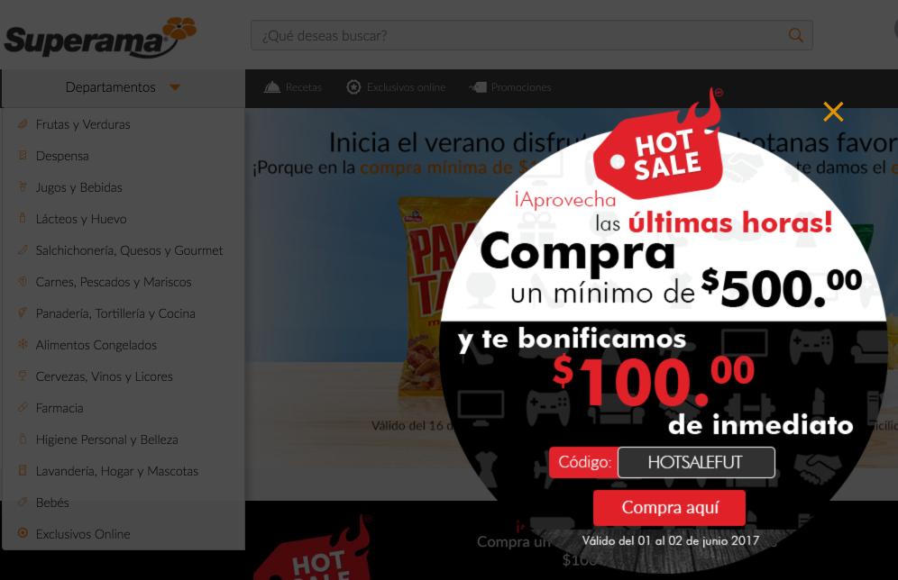 Hot Sale 2017 Superama: código de $100 de descuento en compras de $500