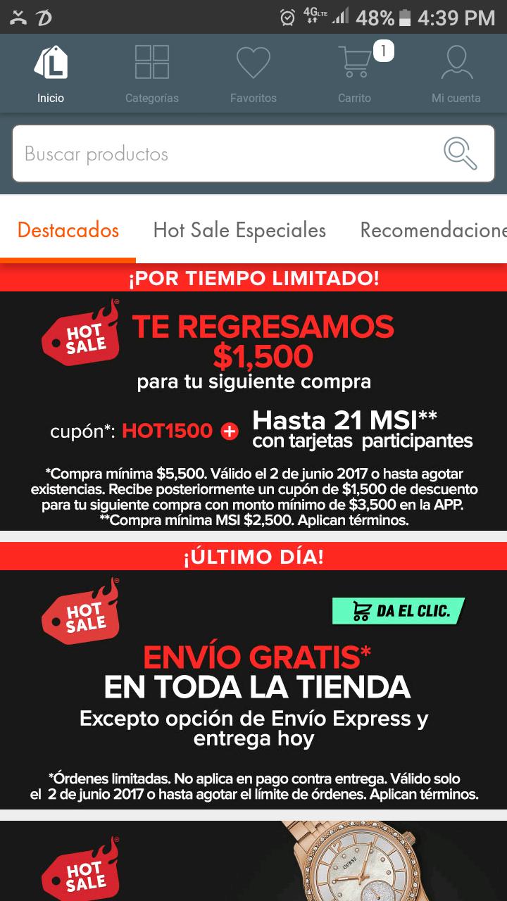 Hot Sale 2017 Linio: $1500 para siguiente compra en compras mayores a $5,500