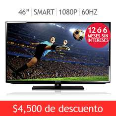 "Costco; Samsung LED 46"" Smart TV 1080p con meses sin intereses y envío gratis"