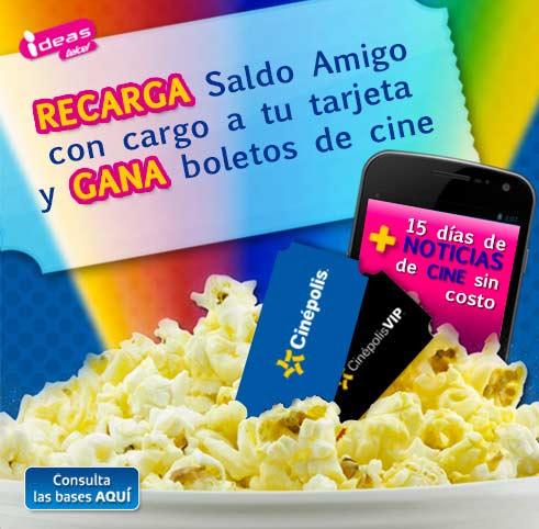 Telcel: Recarga Saldo Amigo con cargo a tu tarjeta y obtén 2X1 en Cinepolis.