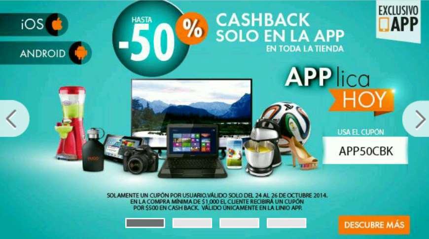 Linio: $500 en cashback en compras mínimas de $1,000