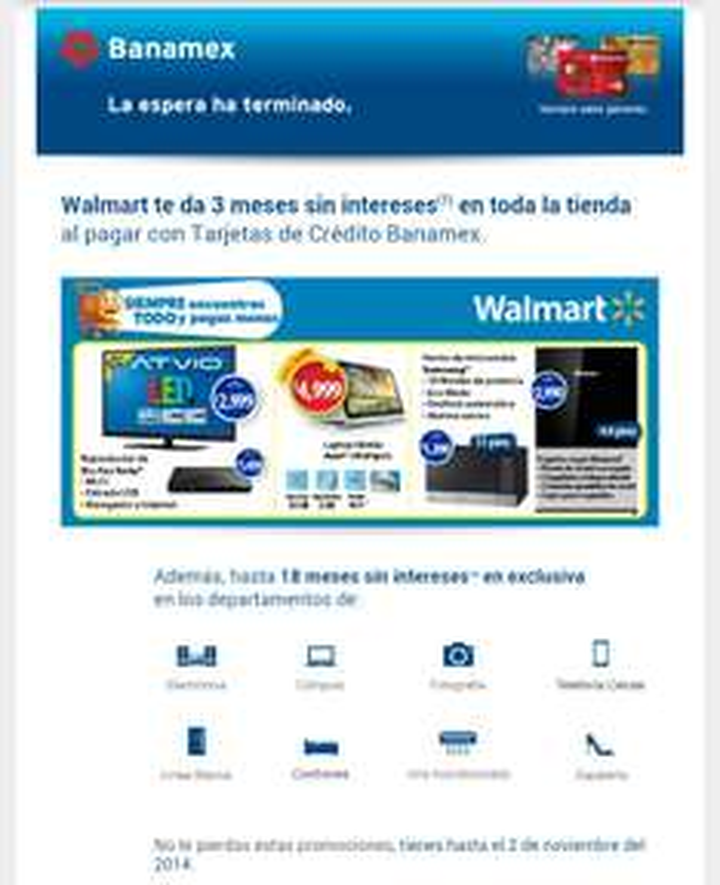 Walmart 3 meses sin intereses pagando con TC Banamex