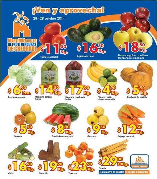 Ofertas de frutas y verduras en Chedraui 28 y 29 de octubre