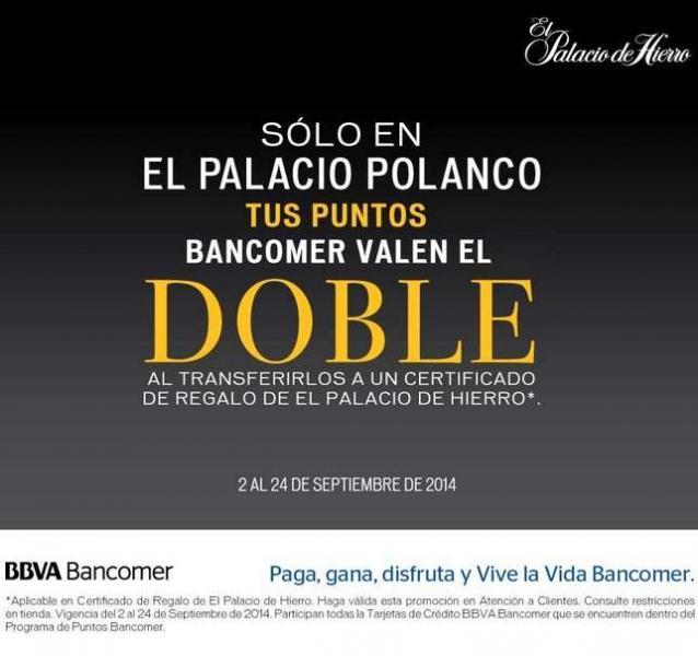 Palacio de Hierro: Puntos Bancomer al doble (Polanco)