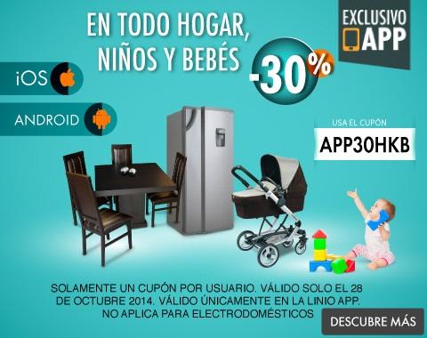 Linio: 30% adicional en Hogar, Niños y Bebés desde el APP
