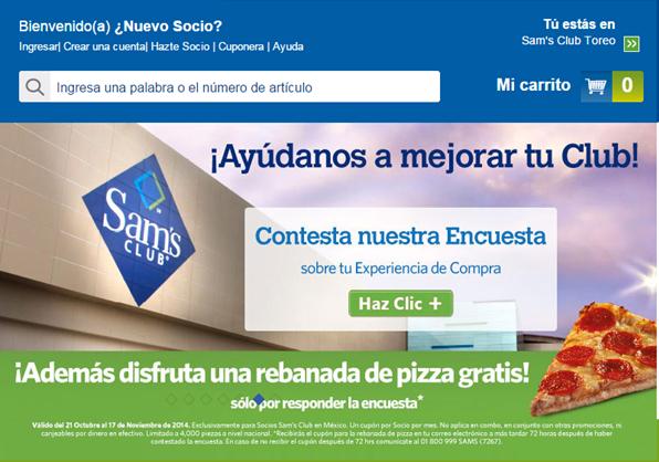 Sam's Club: rebanada de pizza gratis contestando encuesta por internet