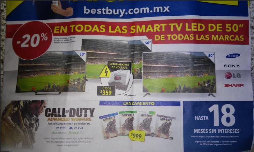 """Best Buy: 20% de descuento en todas las Smart TV de 50"""""""