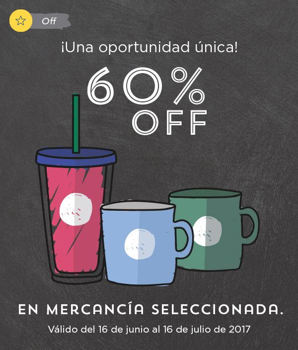 Starbucks: 60 % de descuento en mercancia seleccionada del año 2015 o anteriores