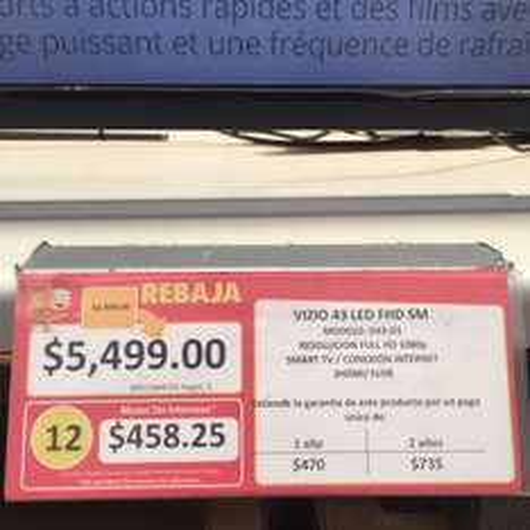 "Walmart: pantalla Vizio 43"" D43-D1 a $5,499"