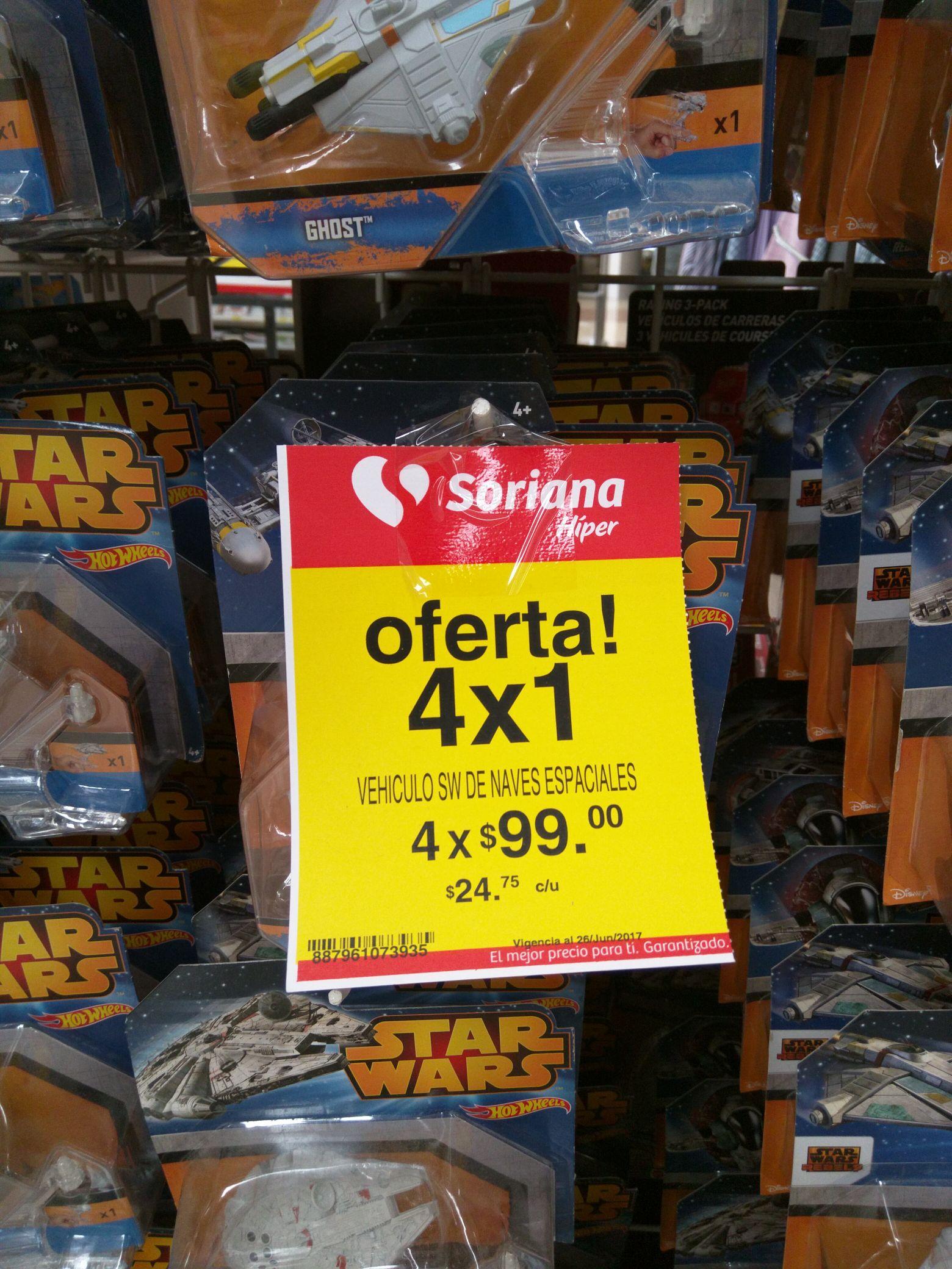Soriana Culiacán: Cuatro Naves Star Wars HotWheels por $99.00