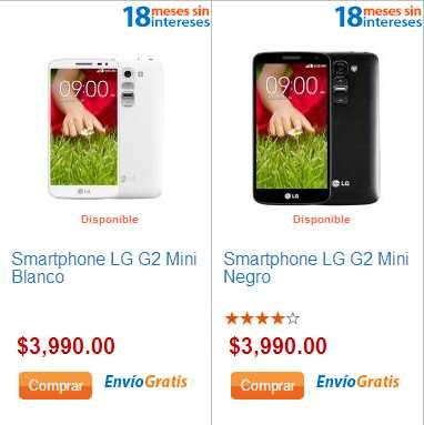 Walmart: smartphone LG G2 Mini desbloqueado $3,990 y meses sin intereses